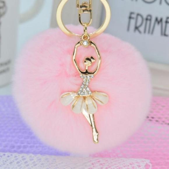 Rabbit Fur Dancer Pom Pom Handbag Charm   Keychain 1334215962fce